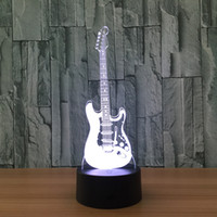 Wholesale Moon Guitar - 3D Electric Guitar Illusion Night Lamp 7 RGB Colorful Lights USB Powered with AA Battery Bin Touch Button Wholesale Dropshipping