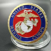 Wholesale free people usa - 100 pcs The 24k Real gold plated USA corps military force sodiers family 40 mm souvenir coins badge coin free shipping