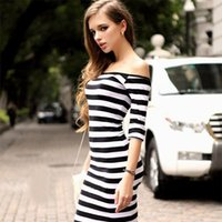 Wholesale Cotton Stretch Dress Woman - 4 colors Women Summer Dress Lady Sexy Half Sleeve Off Shoulder Stripe Stretch Bodycon Party Dresses Cotton Blends S-3XL