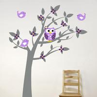 nuevo fondo de pantalla de árbol al por mayor-Planta Árbol Etiqueta de la pared Calcomanías Mural Papel pintado Niños Niños Habitación del bebé Cuarto de niños Dormitorio Etiqueta Año Nuevo Árbol Decoración del hogar