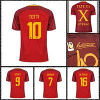 Wholesale Rubber Shirts - Indonesia's quality 2017 TOTTI DE ROSSI third Jerseys Rubber Serie A PJANIC DZEKO home away 2017 2018 Romas Jerseys shirts