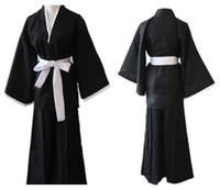 Wholesale Bleach Shinigami Kimono - 2017 fashion Anime Bleach Cosplay Black Shinigami Death Kimono Carnaval Disfraces Halloween Costumes for Men women unisex