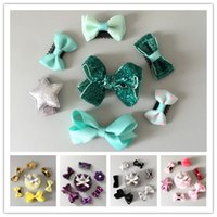 Wholesale Pretty Flower Clips - Cute Baby Girls Handmade Clips sets Blingbling Ribbon Bowknot Crochet Flower Barrette Lace Hairpin Pretty Star Crown hair Accessory sets 5