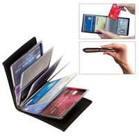 Wholesale Block Cards - 2017 Wonder Wallet Amazing Slim RFID Blocking Wallets Black PU Leather Purse Cases With 24 Cards Holders Keep Cards Safe
