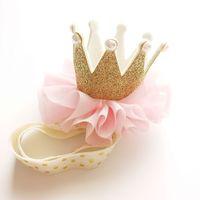 Wholesale Western Hair Headbands - Everweekend Girls Pink Tulle Crown Headbands Fashion Princess Birthday Gifts Hair Accessories Western Fashion Princess Headwear