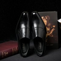 Wholesale Vintage Lace Cut Out Oxfords - British Style Black Leather Men Shoes Business Formal Brogue square Toe Carved Oxfords Vintage causal men's flats male