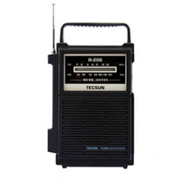 All'ingrosso-TECSUN R-206 completa di marca AM / FM / MW / SW1-6 Multy-band Clock Radio ricevitore digitale di demodulazione stereo Radio tasca portatile Dimensioni