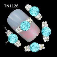 Wholesale Nail Clear Alloy Rhinestone - Wholesale- 10 Pcs 3D Nail Art Decorations Diy Glitter Silver Alloy Charm Clear Rhinestones Light Blue Crystal For Nails Tools