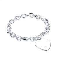 Wholesale Hot Summer Jewelry - Hot Selling 925 Sterling Silver Heart Pendant Pendant Links Chain Bracelet Summer Bracelets Jewelry Best Gift