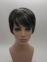 frange de cheveux asiatiques achat en gros de-Cheveux courts frangés mélangés blancs mélangés noirs populaires, femmes asiatiques de style de cheveux 100% synthétiques de la chaleur fabriquant de fibre (fibre de Natura) 8 pouces