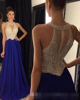 Wholesale Sexy Corset Halter Strap - 2017 New Navy Blue Red Halter Prom Dresses Stunning Beading Sexy Sheer Corset Royal Blue Backless Long Evening Dress Luxurious
