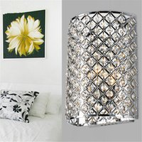 Wholesale Wall Light Crystal Fixtures - Modern Crystal Semi-circle Bedroom Wall Light Mirror Front Wall Sconce Bedroom Bedsides Wall Lighting Fixtures Crystal Corridor Hallway