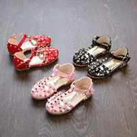 Wholesale Leather Girl Dance Wear - Everweekend Sweet Girls Rivet Hollows Pu Leather Summer Shoes Candy Color Dance Wear