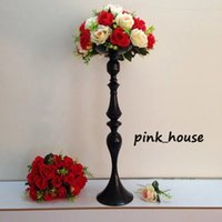 Wholesale tall candle holders for weddings - 2017 new elegant Tall metal black color flower stand flower vase candle holder for Wedding table centerpiece decoration