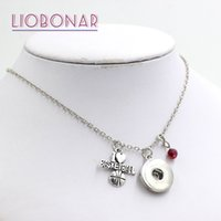 Wholesale Love Bijoux - Wholesale Personalized Gift Snap Jewelry Crystal Bead Birthstone Charm Sport I love Basketball Snap Necklace Fit 18mm Button Bijoux Collar