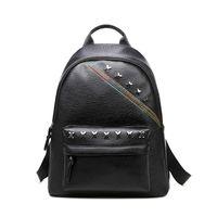 Wholesale Girls Saddles - 2017 Fashion Women PU Leather Backpacks Rivets Preppy Style Girls School Bag Black Solid Colors Travel Shoulder Bags