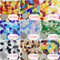 Wholesale Loose Diamond Glass - 10mm200gram 225pcs 1cm DIY Diamond Stained Glass Mosaic, Handcut Tiffany Recteangle DIY Mosaic Hobbies Loose Glass Tile