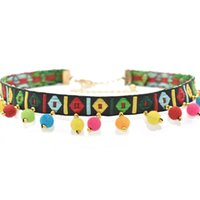Wholesale Ball Jewellry - Handmade Fashion Bohemian Style Floral Colorful Beads Choker Tassel Ball Embroidered Necklace for Women Choker Jewellry