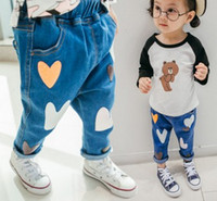 Wholesale Haren Jeans Boy - 2017 Spring Children Girls Love Heart Shaped Denim Pants Boys Girls Haren Heart Fashion Pants Baby Trousers B4418