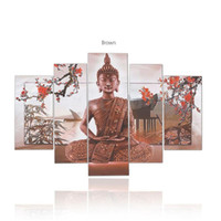Emoldurado 5 painéis / conjunto Buddha Plum Blossom, genuíno pintado à mão Modern Home Decor Wall Art Oil Painting Canvas.Multi sizes Free Shipping 009