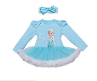 Wholesale Lolita Headdress - 2017 new 2 styles Hot sell infant girl Summer Frozen Princess style long sleeve romper dress +Headdress High-quality 100%Cotton 0-3T