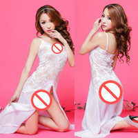 Wholesale Sleek Sexy Dresses - Free shipping new sexy lingerie cosplay lady white elegant sleek dress high-grade chiffon side open fork sling lace skirt pajamas can be who