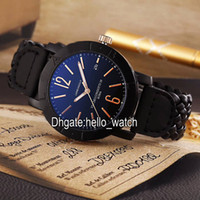 Wholesale Complete Weave - Super Clone Brand High Quality Cheap New 40mm PVD Black Japan Quartz Mens Watch Black Dial Leather Weave Strap Gents Watches Wristwatches