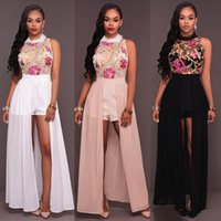 Wholesale drag dresses - 2017 women vintage long dresses mesh o-neck summer without sleeves, Flower printed embroidery jumpsuit and dress in drag