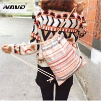 Wholesale Outing Dresses - Canvas drawstring backpack double-shoulder cinch bag cotton calico draw string ethnic backpack outing fashion travel rucksacks