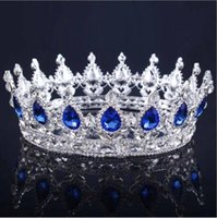 NEW Royal Luxury Shining rhinestone Barroque Wedding Crowns Bridal Veil Tiara Crown Headband Hair Tiara короны 16 * 5 CM Headdress оптом