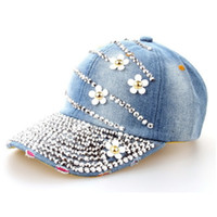 Wholesale Black Floral Jeans - New Fashion Women Denim Washed Rhinestone Baseball Cap With Floral Jeans Simulation Diamond Caps Snapback Hats Hip Hop Hats