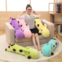 jouets en peluche pour pas cher achat en gros de-Cheap Cartoon Cartoon Giraffe Pillow Baby Doll Enfants Adulte Soft Stuffed Peluches Jouets Lumbar Sleep Pillow Anniversaire Livraison gratuite