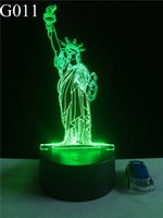 Wholesale Wedding Statue Tree - Statue of Liberty Decorations 3D Lamp LED USB Creative Night Light 7 Color Change Acrylic Touch Switch Bedroom Lamp