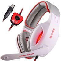 Venda por atacado Sades SA-902 Gaming Headsets com microfone LED Light Channel USB auscultadores para auscultadores para PC