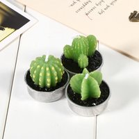 Wholesale Wholesales Candels - New 6pcs lot Cactus Plants Flickering Flameless Tea light Flicker Tea Candle Light Party Wedding Candels Home Decoration