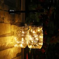 ingrosso vaso di vetro giallo-Nuovo 3Pcs / lotto Natale pannello solare luce pannello Mason Jar Lid Insert con LED giallo per barattoli di vetro Decorazioni di Natale