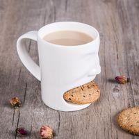 Wholesale face mugs - New Face Mug Ceramic Coffee Cup Side Cookie Biscuit Pocket Holder Milk Juice Lemon Mug Drinkware CCA7543 24pcs
