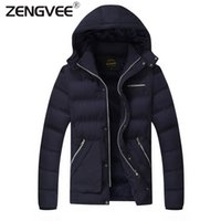 Wholesale Jacket Outerwear Overcoat For Man - Wholesale- 2016 Men Jacket Winter Warm Clothing Outerwear Padded Warm Zipper Coat With Hooded Comfortable For Men Overcoat Free Shipping