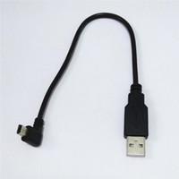cabo usb de ângulo esquerdo venda por atacado-25 cm USB 2.0 Um Macho para USB Mini 5Pin Ângulo Esquerdo Masculino adaptador Cabo Preto