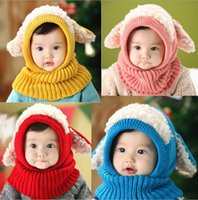 Wholesale Dog Baby Winter Cap - Baby Kids Knitted Hat Cute Dog Shaped Siamese Bib Cap Soft Kepp Warm Shawl Free Shipping