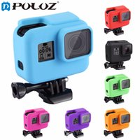 Wholesale Hard Lens Cases - PULUZ For Sports camera Accessories Housing Cover Solf Silicone Protective Case with Side Frame Lens Cover For Action Camera HERO 5