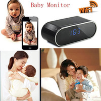 Wholesale h 264 dvr ip camera for sale - Group buy WIFI Clock IP cameras wireless H P night vision Clock camera Live view motion detection degree view alarm clock security DVR