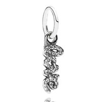 Wholesale Dangling Charm Bead Pandora - Authentic 925 Sterling Silver Bead Charm Letter Love Dangle With Crystal Pendant Beads Fit Women Pandora Bracelet Bangle Diy Jewelry HKA3571
