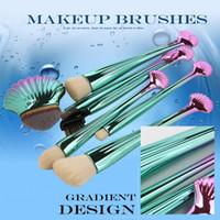 ferramentas eléctricas frete grátis venda por atacado-Dropshipping Shell Pincéis de Maquiagem Set Power Foundation Sombra de Sobrancelhas Contour Blending Make Up Brushes Ferramentas de Beleza frete grátis