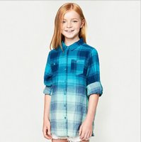 Wholesale Childrens Blouses - Autumn Teenager Plaid Cotton Shirts Junior Fashion Ombre Blouse Big Babies Casual Tops 2017 childrens clothing