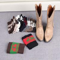 çizme manşetleri çorapları toptan satış-Kadınlar Kış Örme Bacak Isıtıcı Çorap Noel Elk Geyik Boot Kapak Manşetleri Çorapları Kısa Çorap 20 Stilleri 100 Pairs OOA3623