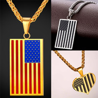 Wholesale Stainless Chain Usa - Hot American Flag Pendant Stainless Steel Men Chain Necklace Gold Plated Trendy USA Symbol Necklace Men Jewelry