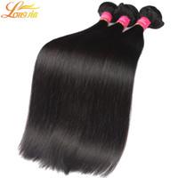 natürliche menschliche haarfirma großhandel-Longjia Hair Company Peruanische Gerade Menschenhaar Extensions 7a Unverarbeitete Reine Menschenhaareinschlagfaden Peruanische Gerade natürliche farbe # 1B