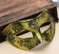 Wholesale Halloween Maske - Retro Roman gladiator Halloween party masks man woman children Mardi Gras Masquerade maske Gold and Silver available