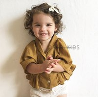 Wholesale Wholesale Half Sleeve Shirts - 2017 Infant Baby Girls Cotton Ruffle Shirts Toddler Fashion Batwing Sleeve Blouse Babies Spring tops children's clothing